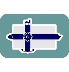 Finland national flag with icons vector