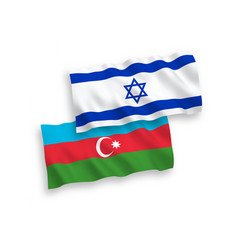 Flags azerbaijan and israel on a white vector