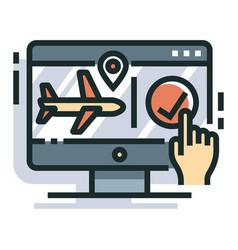 Flight booking line color icon vector