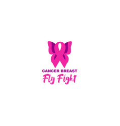 Fly fight breast cancer awareness design vector