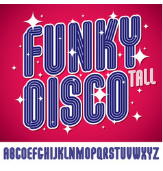 Funky tall capital alphabet letters collection vector