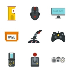 Game online icons set flat style vector