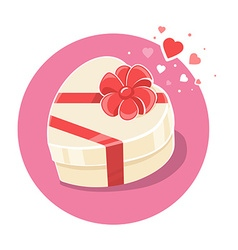 Gift box in heart shape on pink backgroun vector