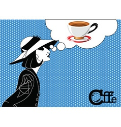 Girl coffee vector image