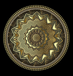 gold lacy greek 3d mandala pattern round lace vector image