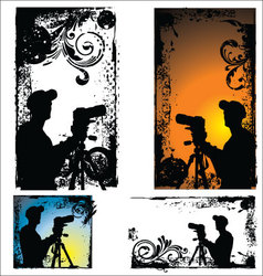 Grunge Photographers silhouette - set vector image