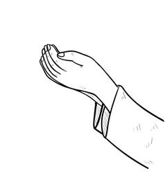 Hand drawing muslim hand praying vector
