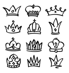 Hand drawn princess crowns sketch doodle vector