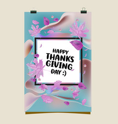 Happy thanksgiving with autumn leaves background vector