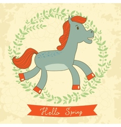 Hello spring concept card with cute running horse vector