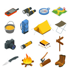 Hiking icons set camping equipment vector