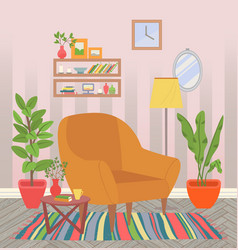 Home interior chair with houseplants and carpet vector