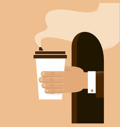 human hand holding cup coffee to take away vector image