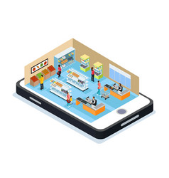 Isometric online shopping concept vector