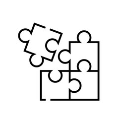 Jigsaw puzzle line icon concept sign outline vector