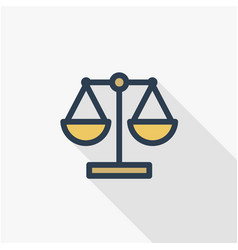 Justice and law symbol scales thin line flat vector