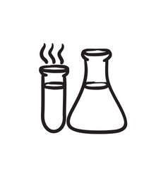 Laboratory equipment sketch icon vector