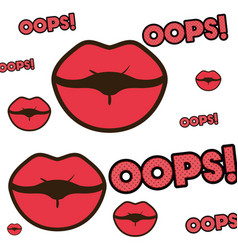 Lips with oops pattern isolated icon vector