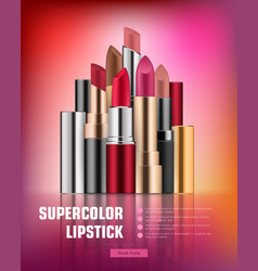 lipstick collection on vivid background vector image