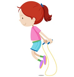 Little girl skipping the rope vector