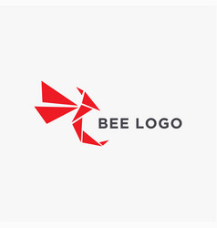 Modern abstract paper origami bee logo icon vector