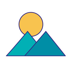 mountain and sun design vector image