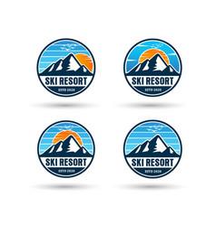 mountain and sun logo design bundle vector image
