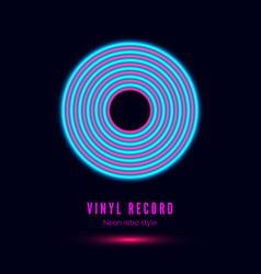 Neon vinyl retro record album cover or template vector