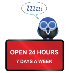 Open twenty four hour retail sign vector