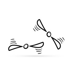 Outline propeller icon isolated on white doodle vector
