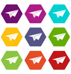 paper plane icon set color hexahedron vector image