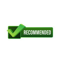 recommend icon white label recommended on green vector image
