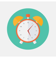 Red and yellow alarm clock flat icon vector