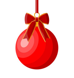 red christmas ball with red ribbon and bow vector image