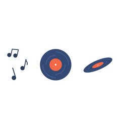 retro music vinyl record top and side view vector image