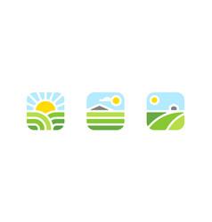 Rural landscape farm logo mark or icon vector