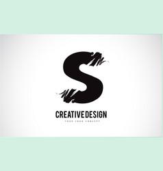 S letter logo design brush paint stroke artistic vector