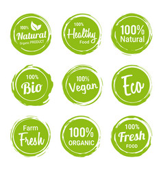 set green organic labels vegetarian products vector image