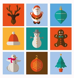 Set modern style christmas flat icons vector