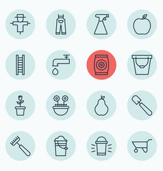 Set of 16 farm icons includes stairway vector