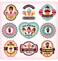 Set of different ice cream badges and labels vector