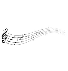 set of musical notes on five-line clock notation vector image