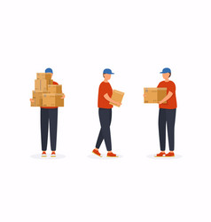 set postal workers in different poses courier vector image