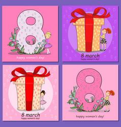 Set square card happy valentine s day vector