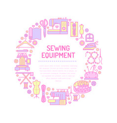 sewing equipment hand made supplies banner vector image
