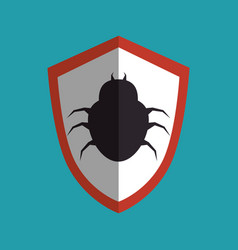 Shield with bug icon vector