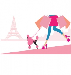 shopping in paris vector image