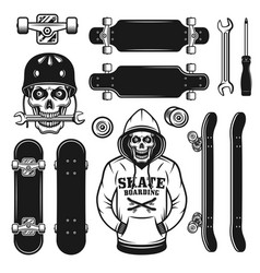 skateboarding objects design elements vector image