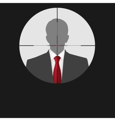 Sniper scope crosshair man silhouette vector image