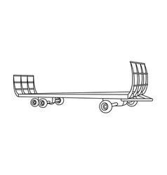specialized trailer on wheels for trucks for vector image